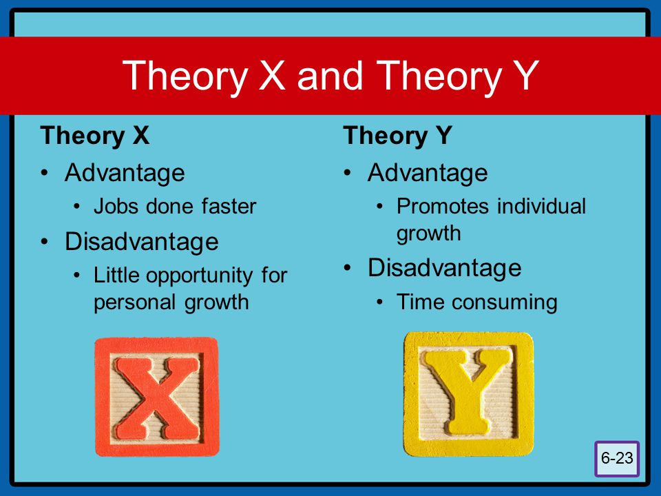 Theory X and Theory Y Theory X Advantage Disadvantage Theory Y