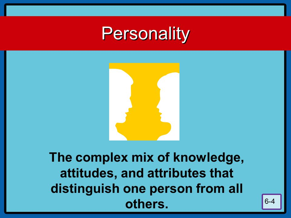 Personality The complex mix of knowledge, attitudes, and attributes that distinguish one person from all others.