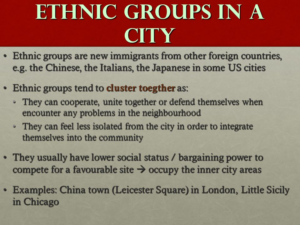 Ethnic groups in a city