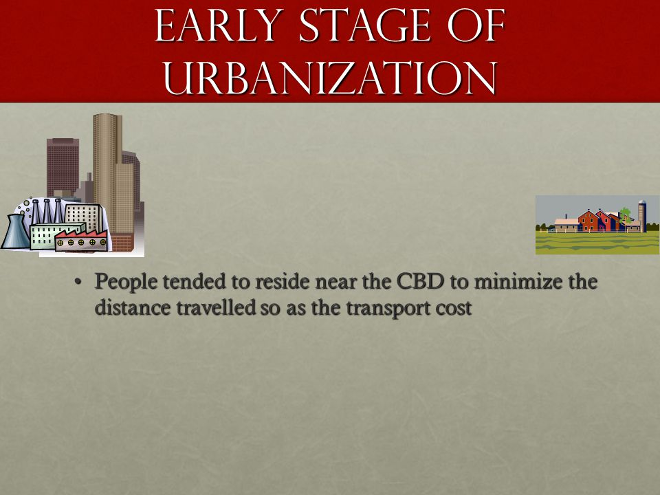 Early stage of urbanization