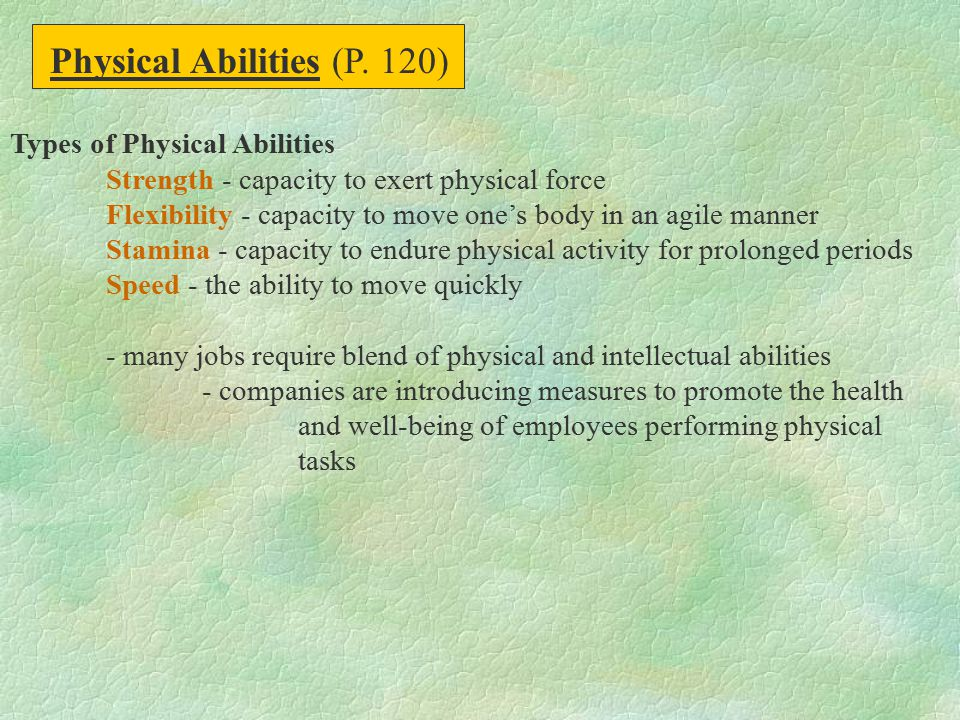 Physical Abilities (P. 120)