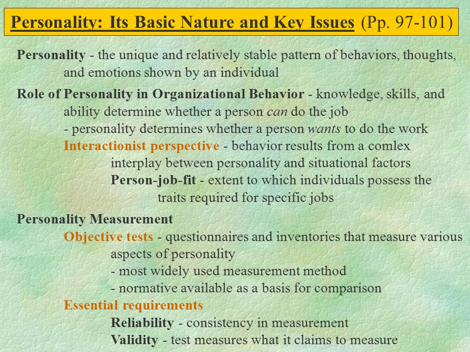 Personality: Its Basic Nature and Key Issues (Pp. 97-101)