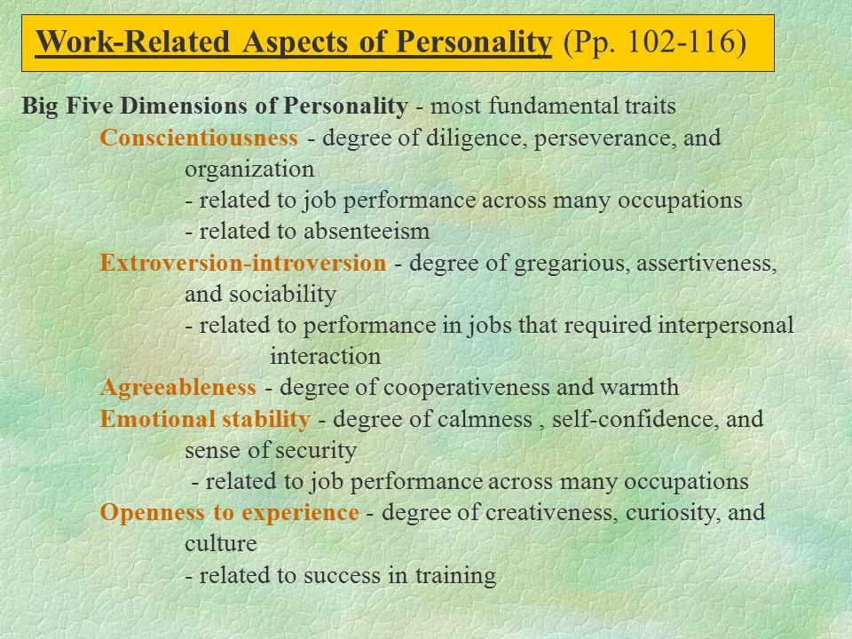 Work-Related Aspects of Personality (Pp. 102-116)