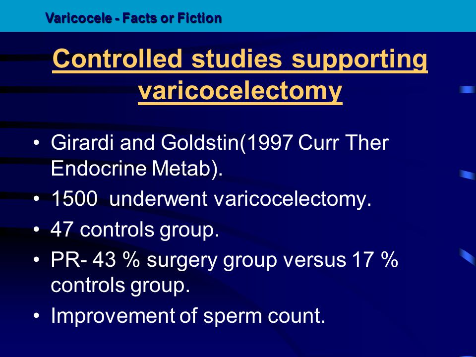Controlled studies supporting varicocelectomy