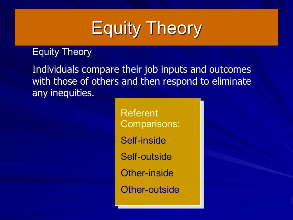 Equity Theory Equity Theory