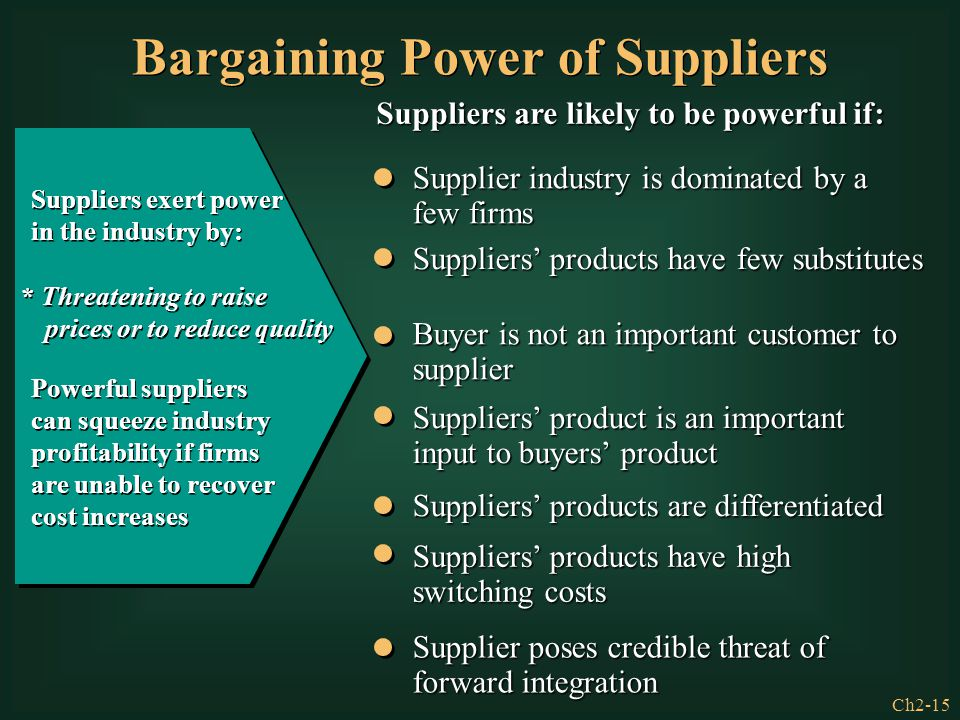 bargaining power of suppliers The bargaining power of suppliers increase as threat of foward integration by suppliers increases an independent group of suppliers, such as farmers, gather to form a cooperative to sell their products to buyers directly, replacing their former distributor.