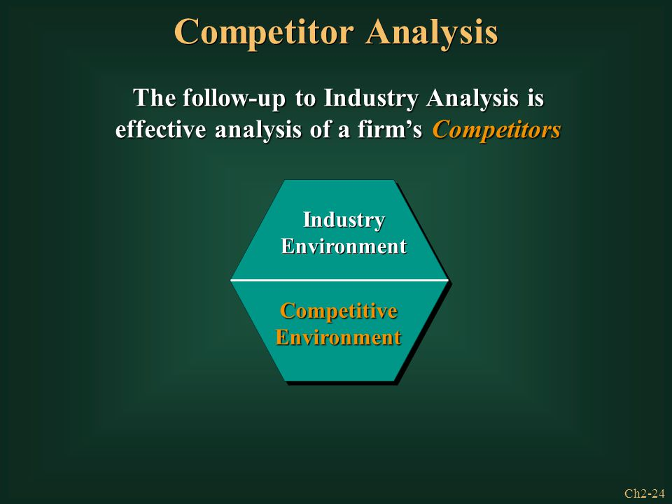 Competitor Analysis The follow-up to Industry Analysis is effective analysis of a firm's Competitors.