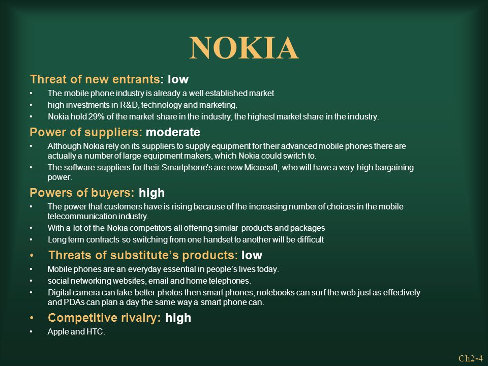NOKIA Threat of new entrants: low Power of suppliers: moderate