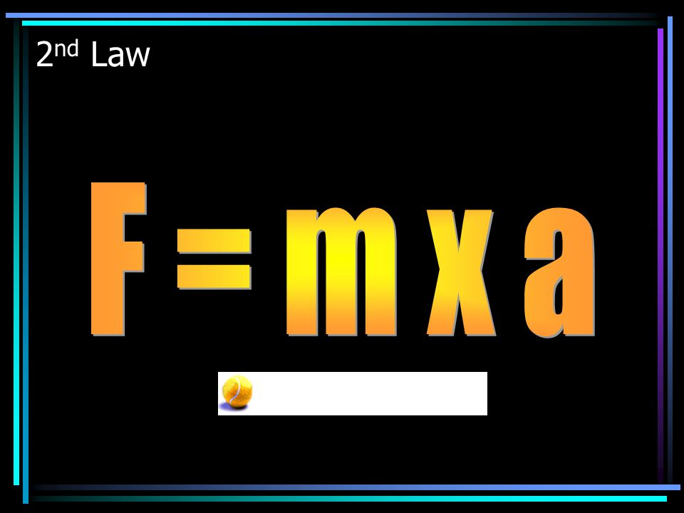 2nd Law F = m x a