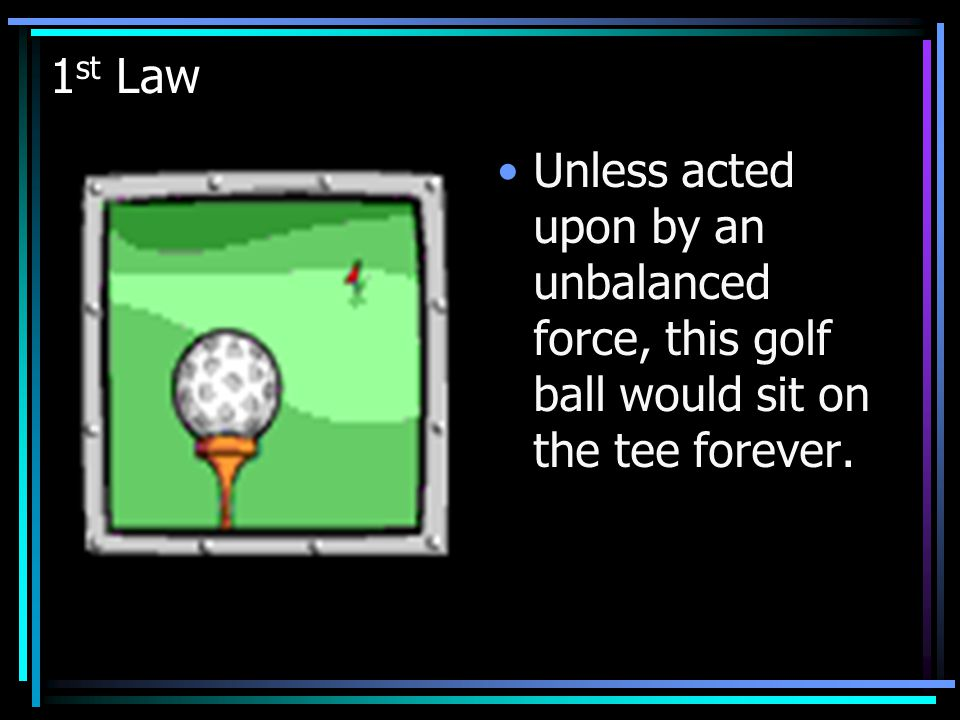 1st Law Unless acted upon by an unbalanced force, this golf ball would sit on the tee forever.