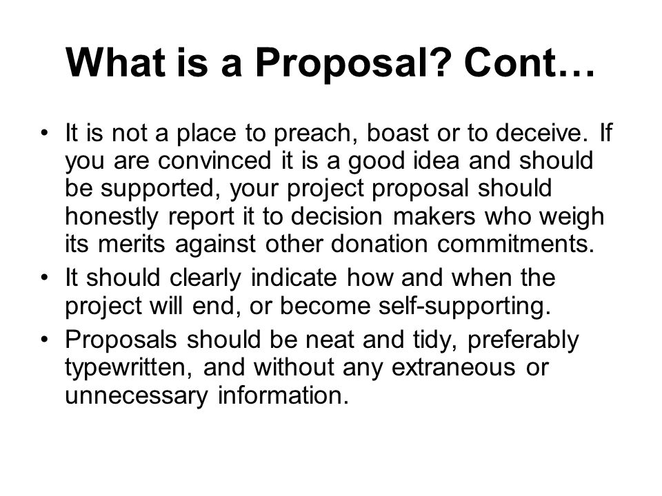 What is a Proposal Cont…