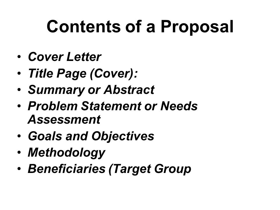 Contents of a Proposal Cover Letter Title Page (Cover):