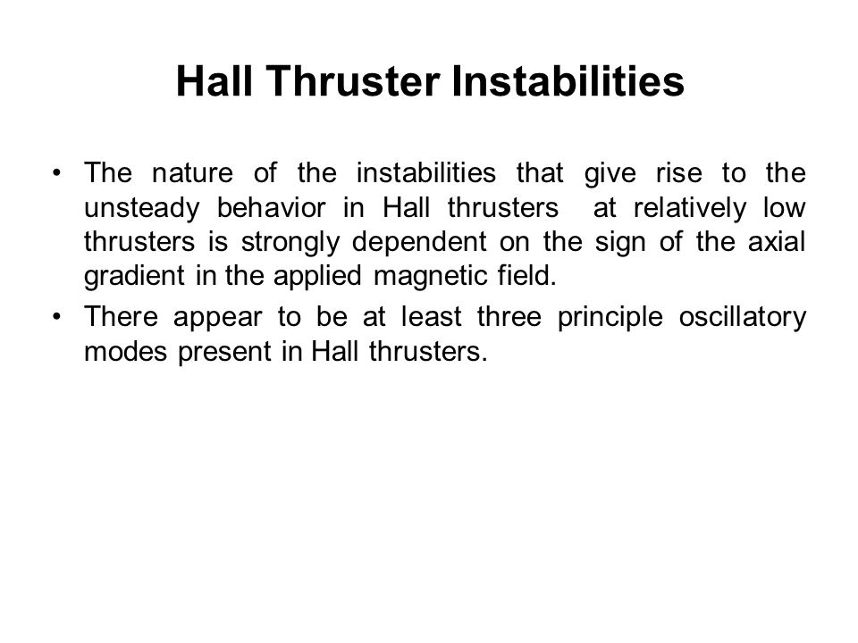 Hall Thruster Instabilities