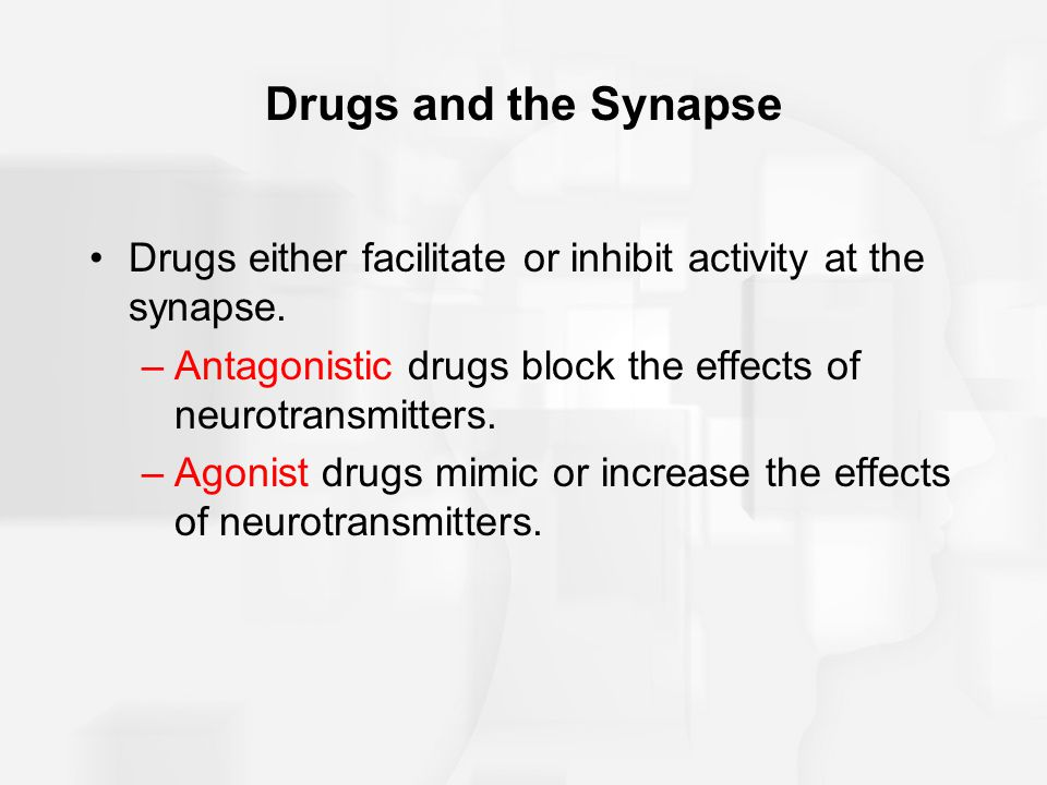 Drugs and the Synapse Drugs either facilitate or inhibit activity at the synapse. Antagonistic drugs block the effects of neurotransmitters.