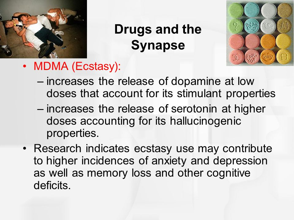 Drugs and the Synapse MDMA (Ecstasy):