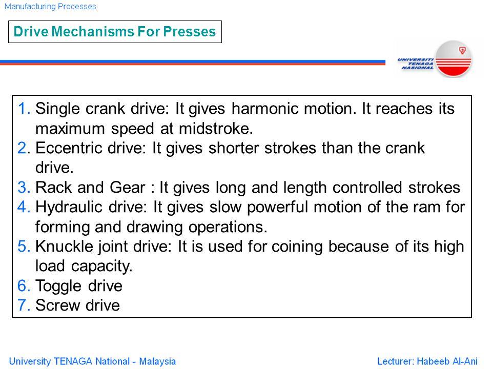 1. Single crank drive: It gives harmonic motion. It reaches its