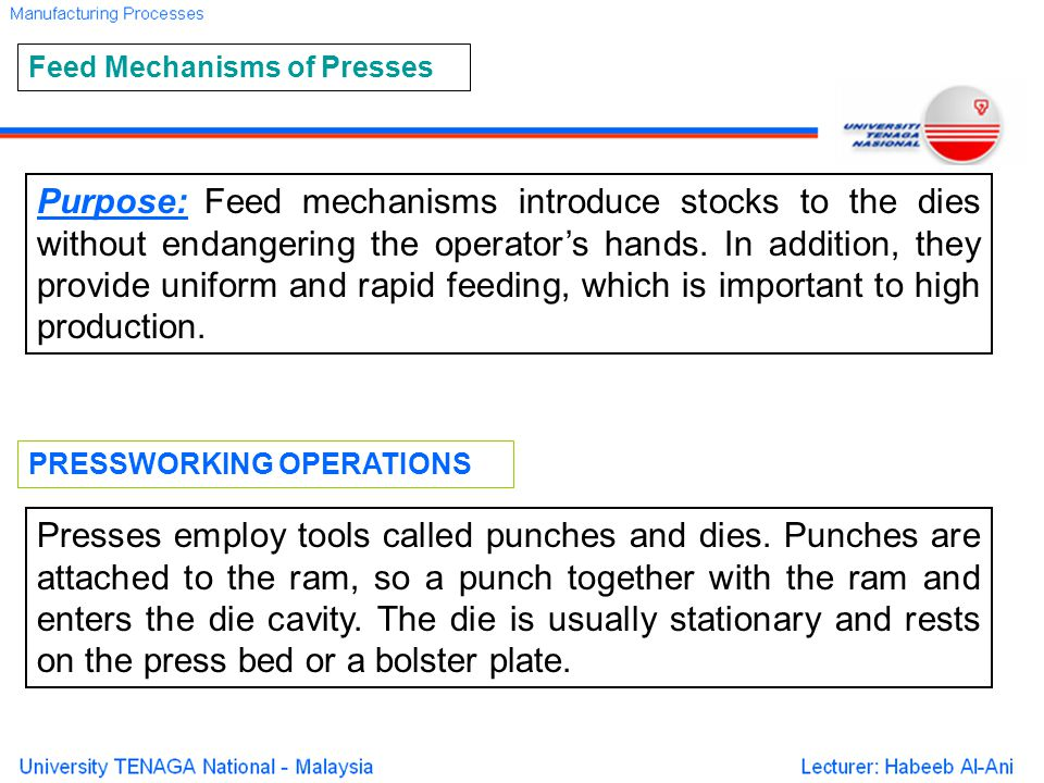 Feed Mechanisms of Presses