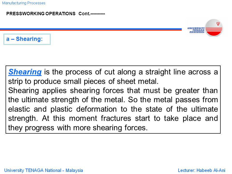 PRESSWORKING OPERATIONS Cont.----------