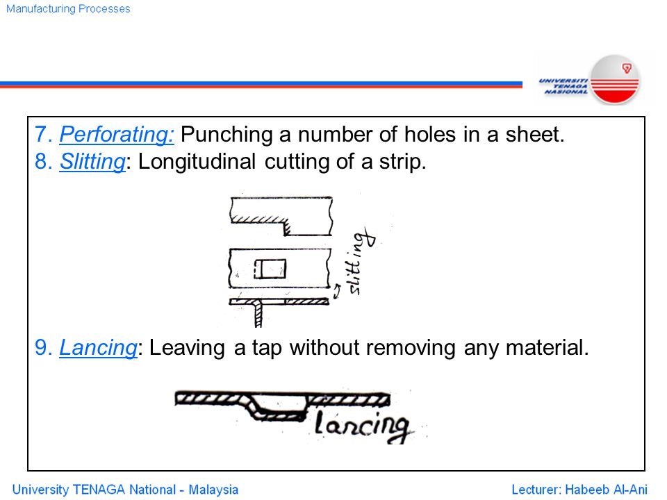 7. Perforating: Punching a number of holes in a sheet.