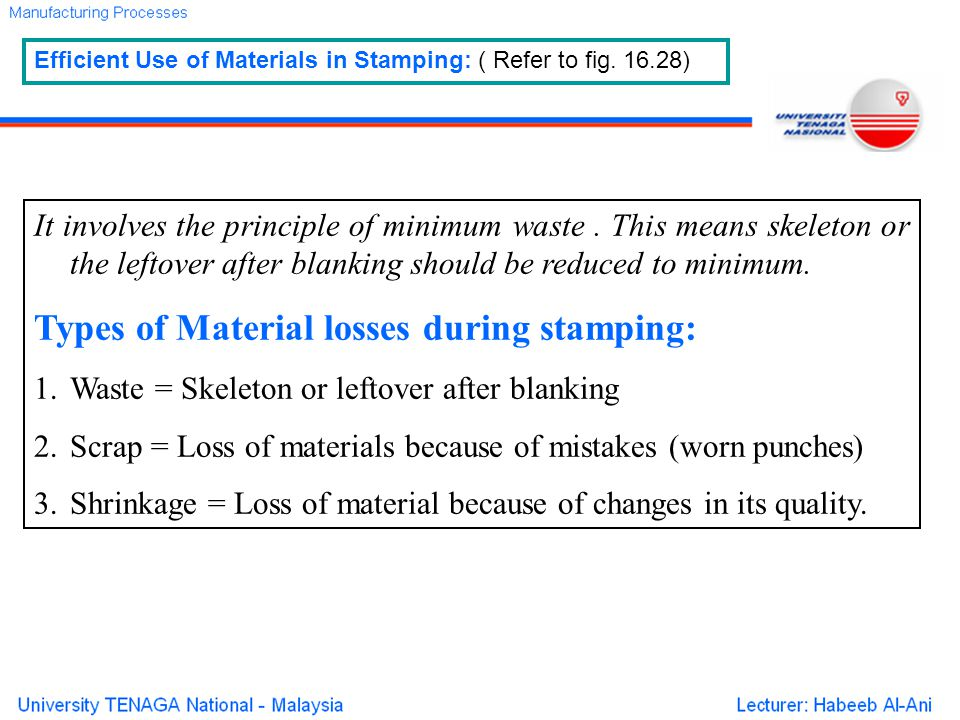 Types of Material losses during stamping:
