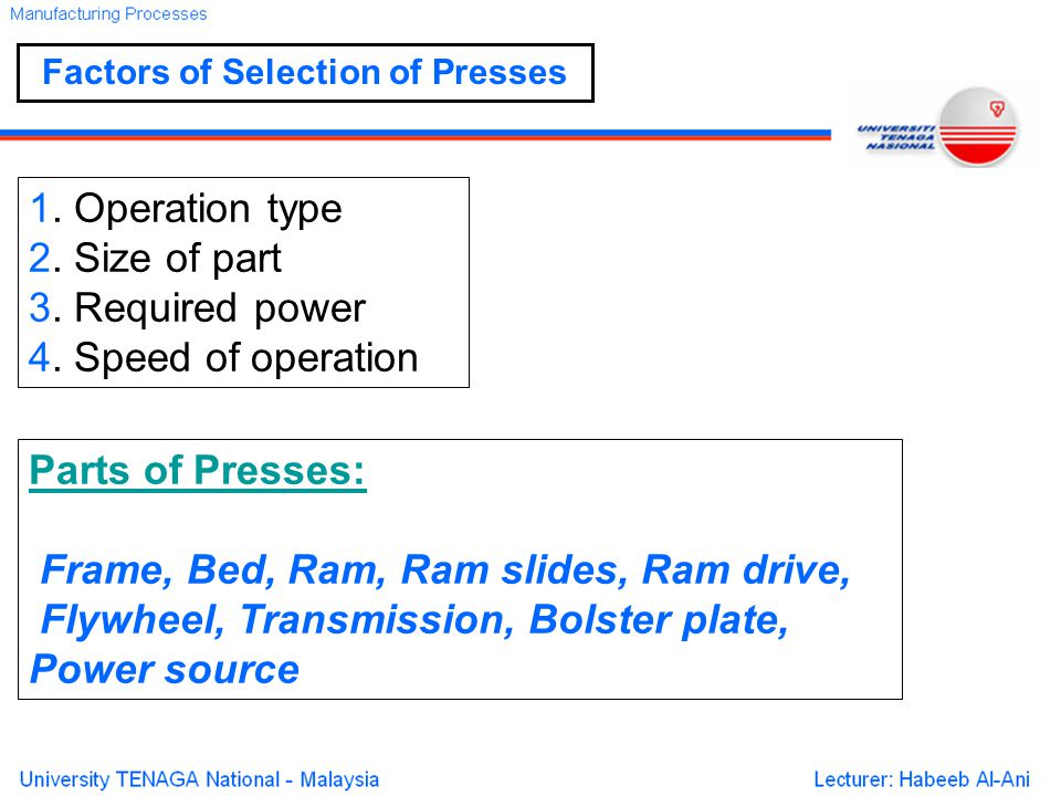Factors of Selection of Presses