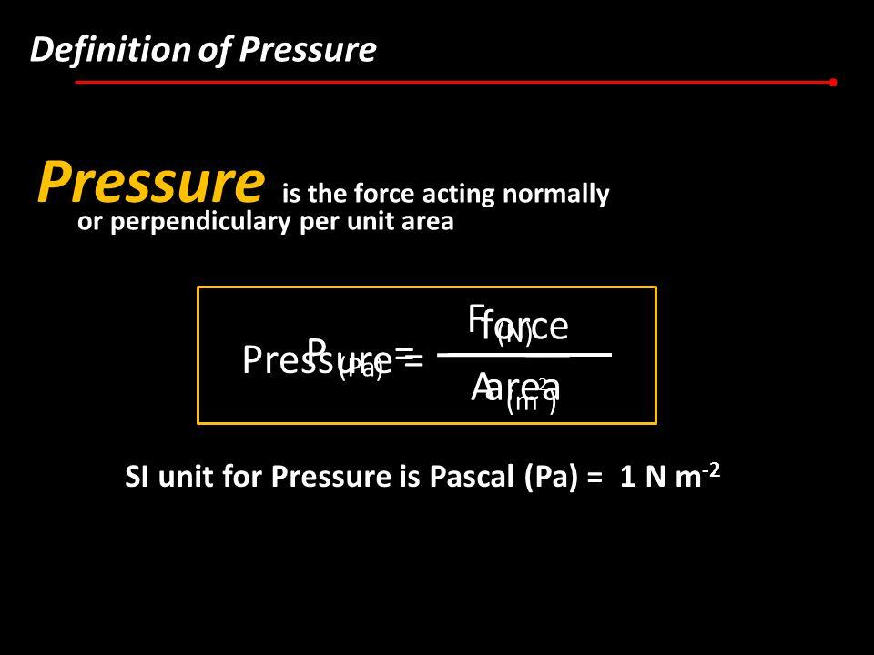 Pressure F (N) force P (Pa) = Pressure = A (m2) area