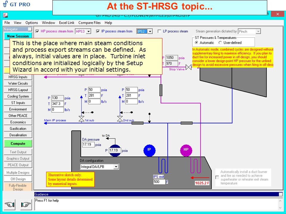 At the ST-HRSG topic... This is the place where main steam conditions