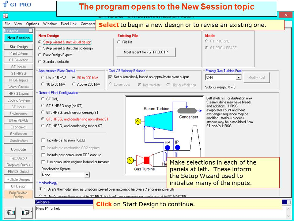 The program opens to the New Session topic