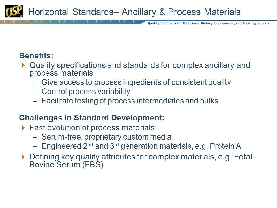 Horizontal Standards– Ancillary & Process Materials