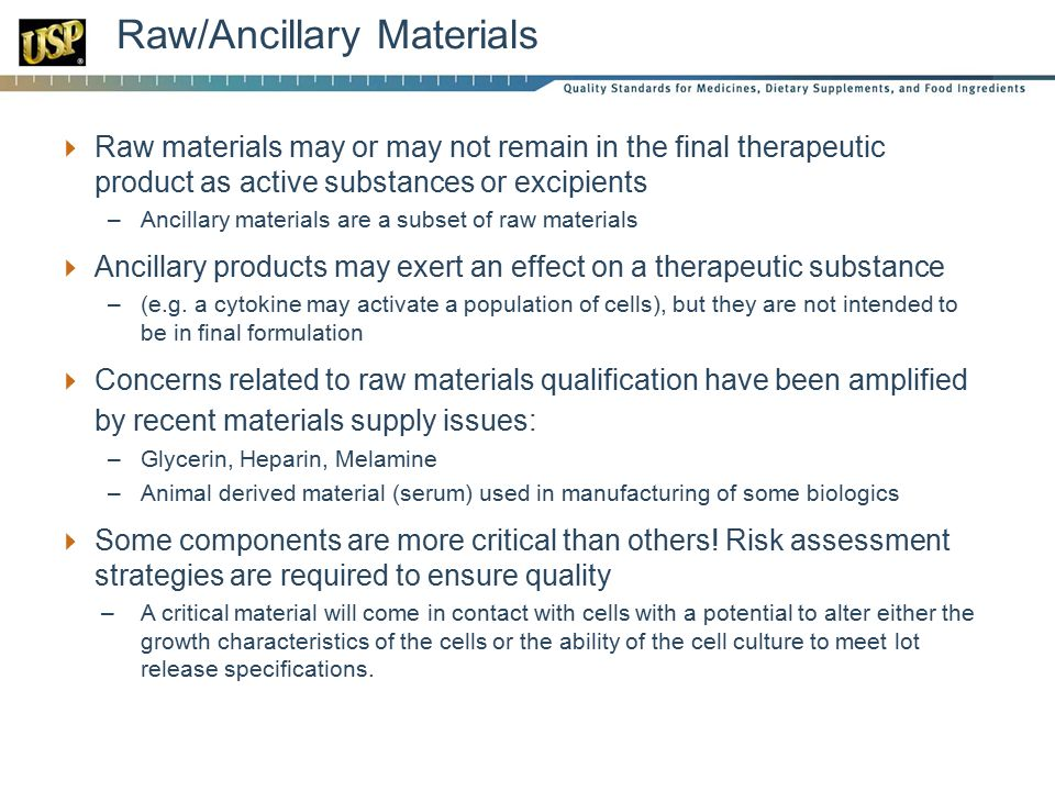 Raw/Ancillary Materials