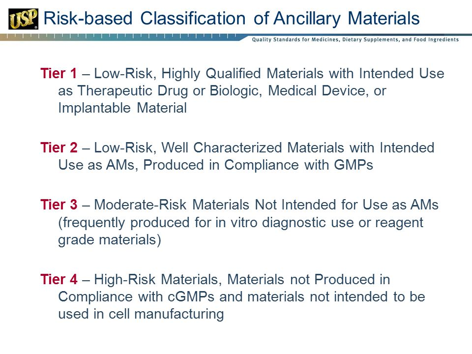 Risk-based Classification of Ancillary Materials