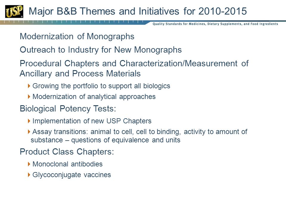 Major B&B Themes and Initiatives for 2010-2015