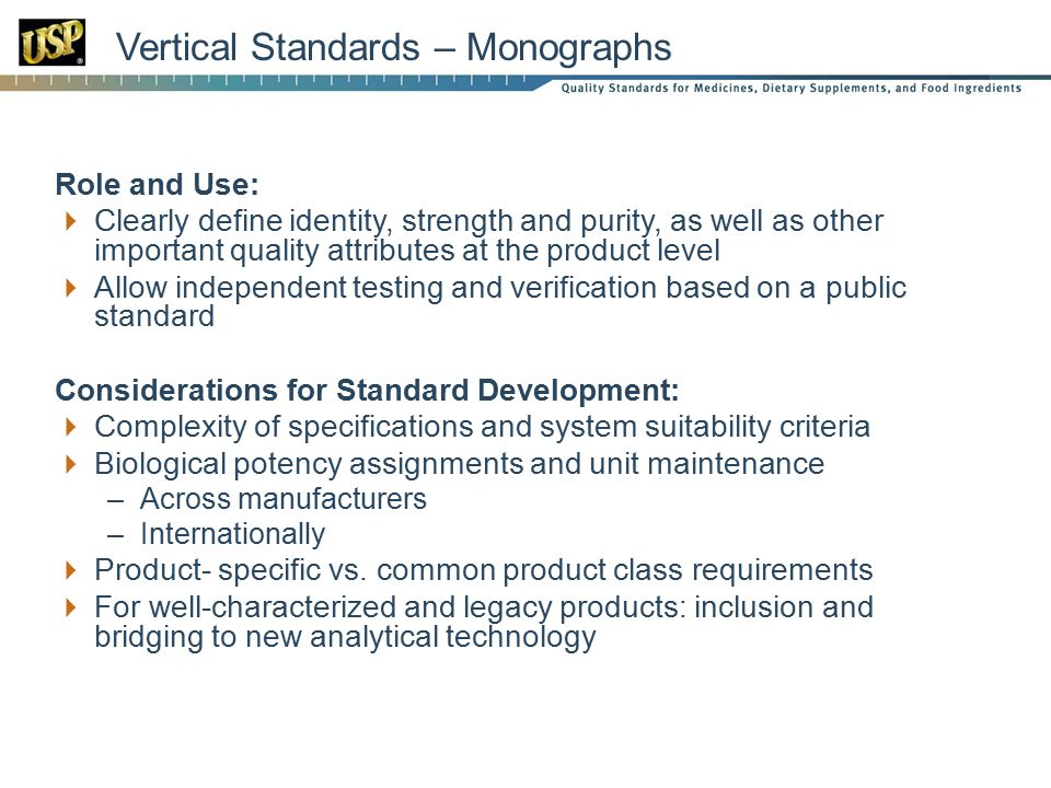 Vertical Standards – Monographs