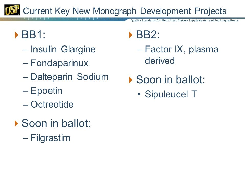 Current Key New Monograph Development Projects