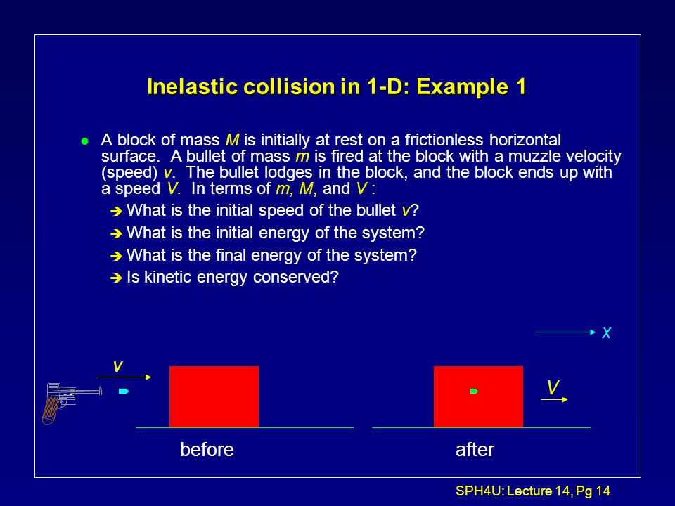 Inelastic collision in 1-D: Example 1