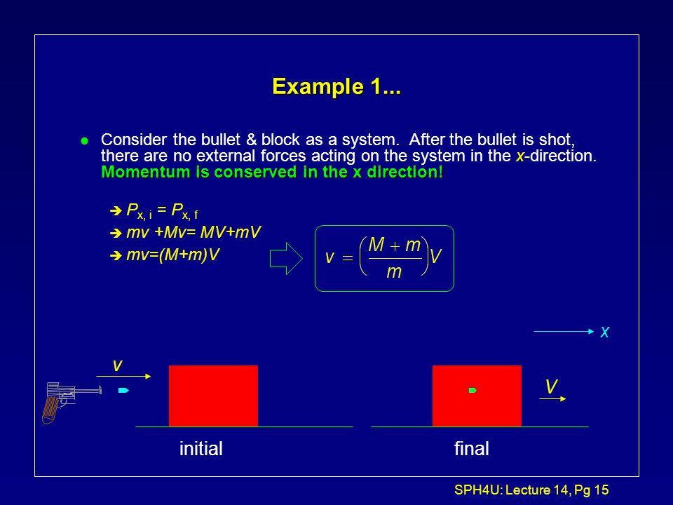 Example 1... x v V initial final