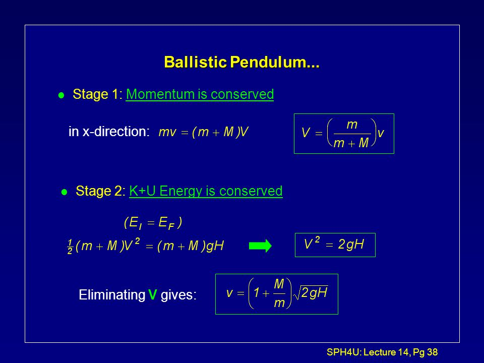 Ballistic Pendulum... Stage 1: Momentum is conserved in x-direction: