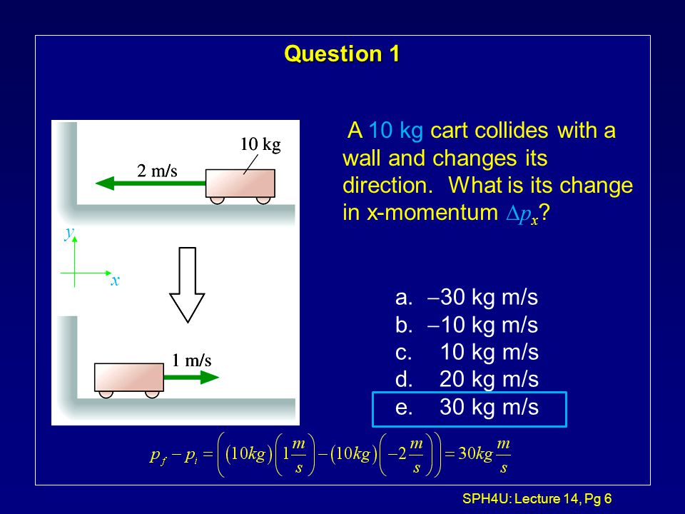 Question 1 A 10 kg cart collides with a wall and changes its direction. What is its change in x-momentum Dpx