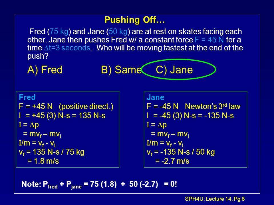 A) Fred B) Same C) Jane Pushing Off…