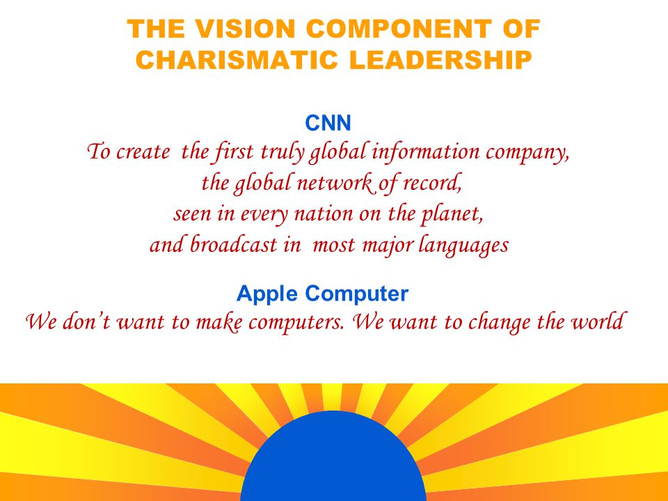 THE VISION COMPONENT OF CHARISMATIC LEADERSHIP