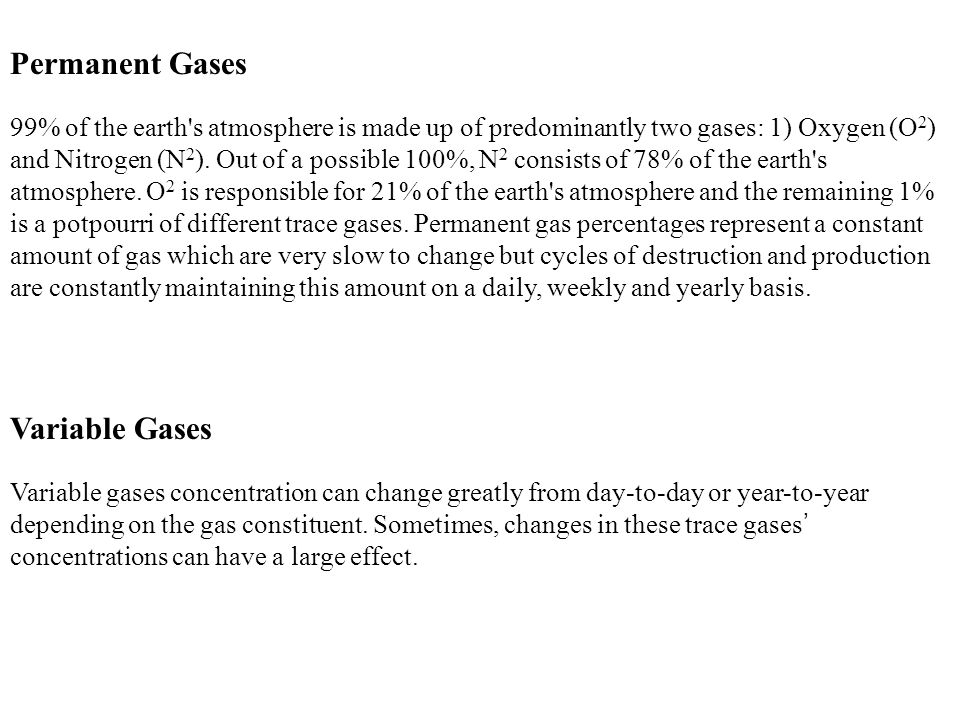 Permanent Gases Variable Gases