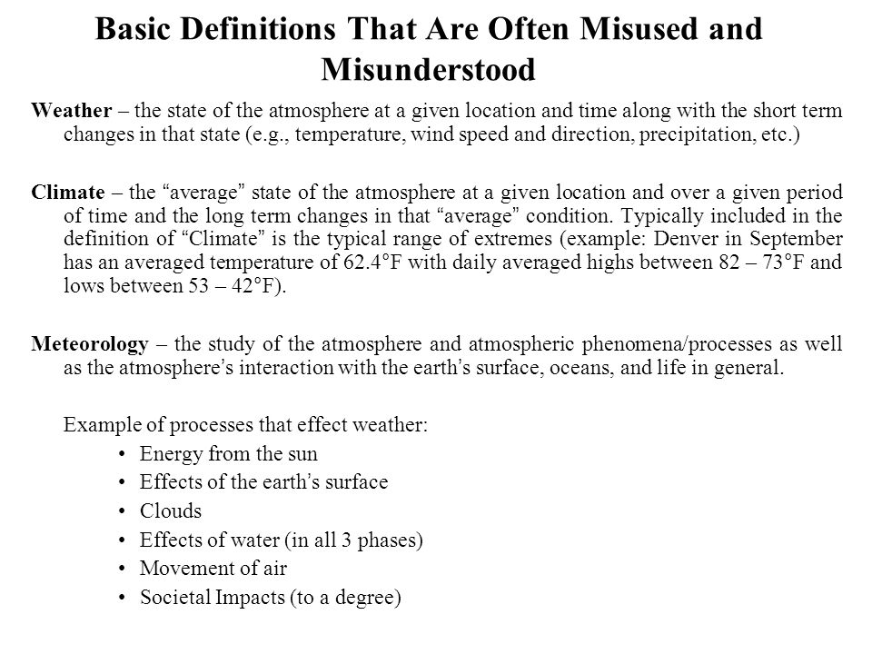 Basic Definitions That Are Often Misused and Misunderstood