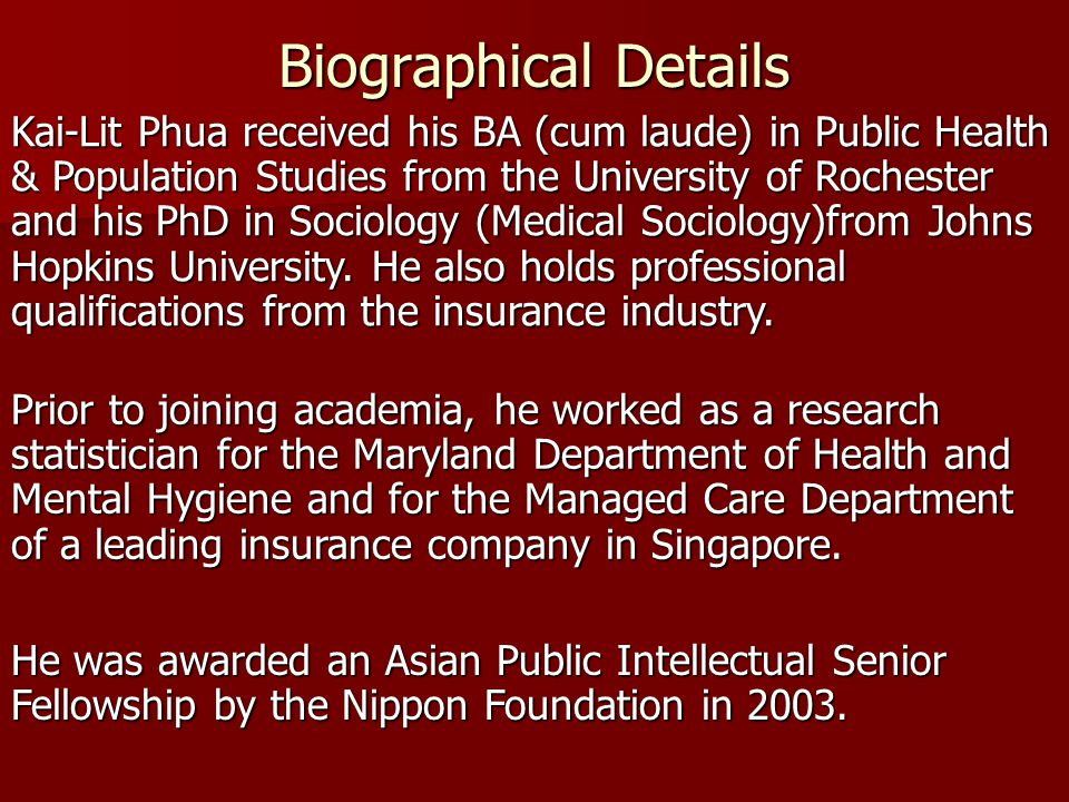 Biographical Details