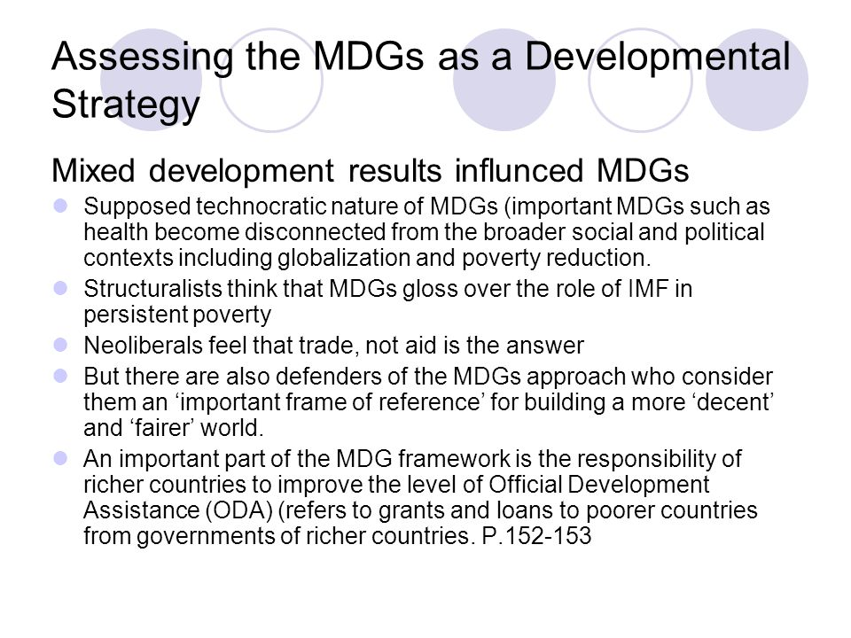 Assessing the MDGs as a Developmental Strategy