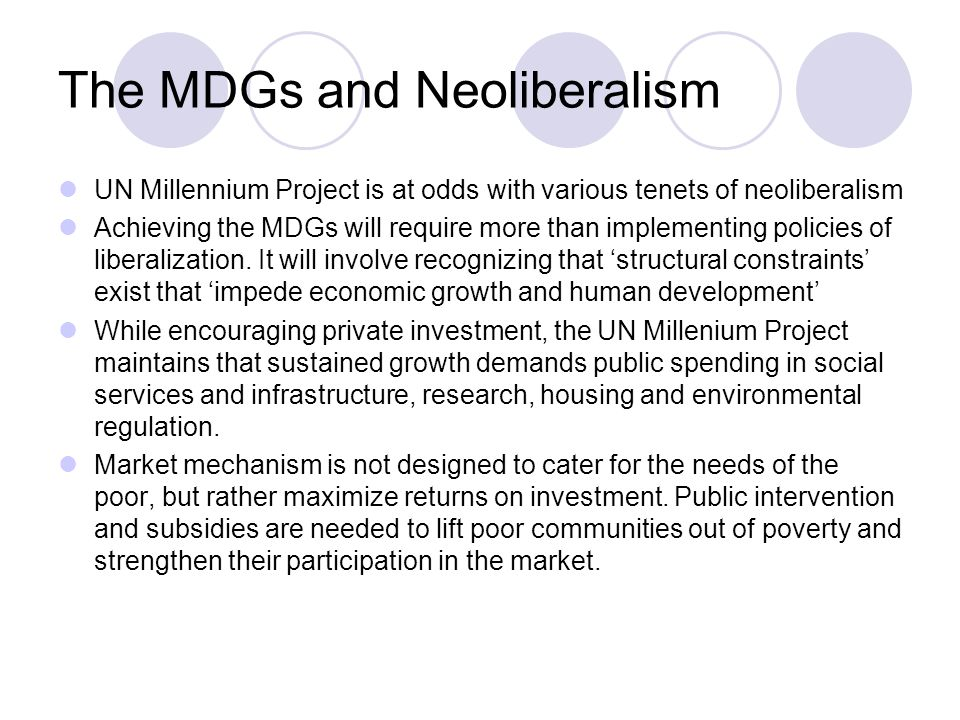 The MDGs and Neoliberalism