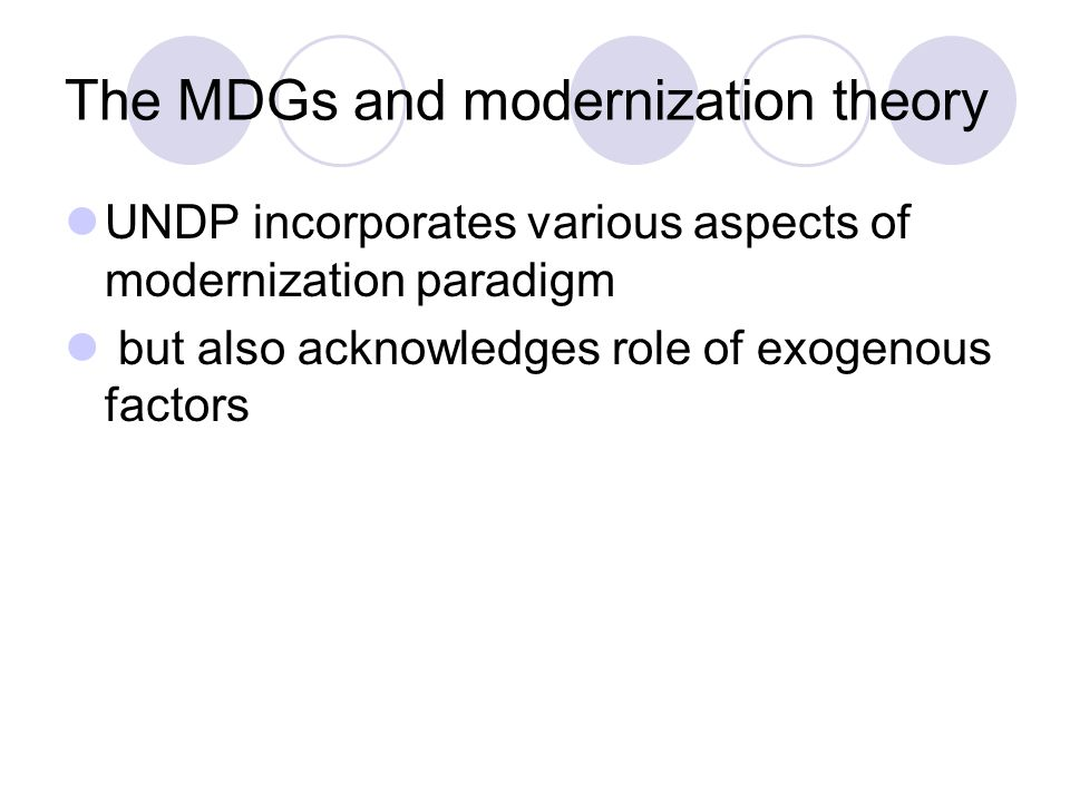 The MDGs and modernization theory