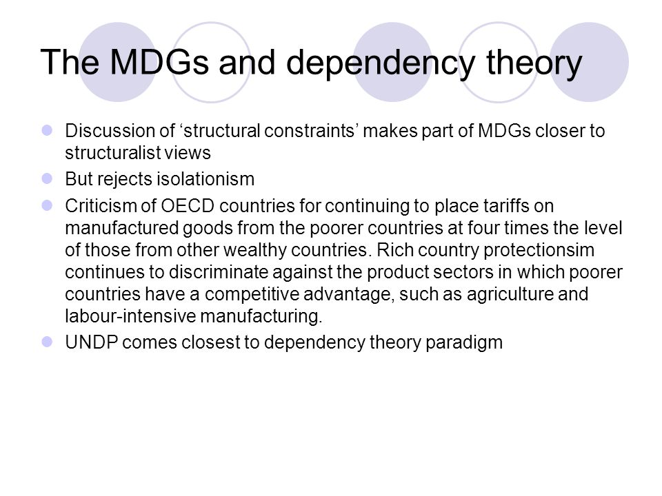 The MDGs and dependency theory