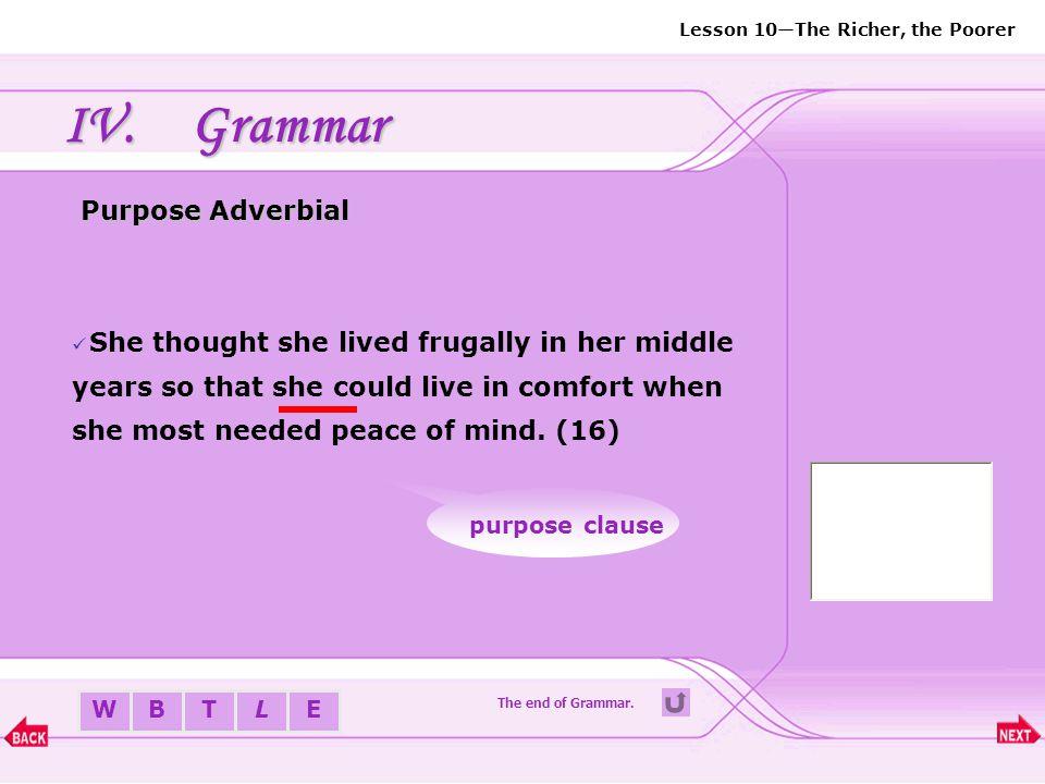 Grammar Purpose Adverbial