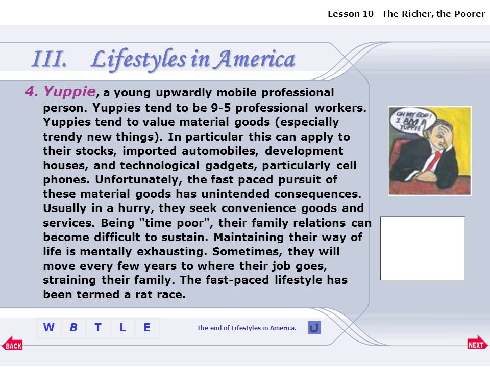 The end of Lifestyles in America.