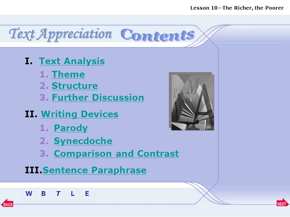Text Appreciation Contents I. Text Analysis 1. Theme 2. Structure
